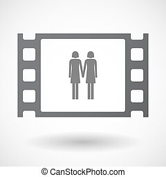 Isolated 35mm film frame with a lesbian couple pictogram