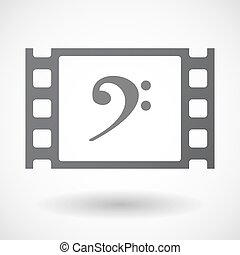 Isolated 35mm film frame with an F clef