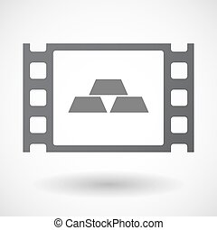 Isolated 35mm film frame with three gold bullions