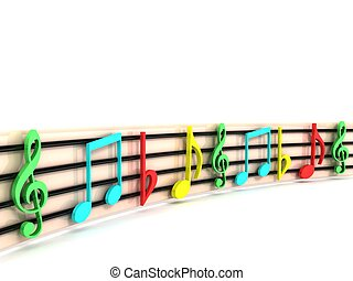 colorful musical clefs - isolated 3D colorful musical clefs