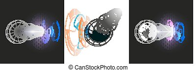 Isolated 3D dotted world globes with abstract construction, connecting lines on white background. Vector design, structure, shape, form, space station. Scientific research. Science, technology concept
