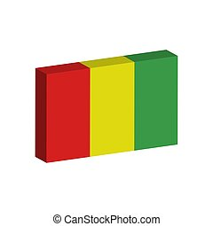 3D flag of Guinea