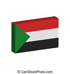 3D flag of Sudan