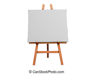 Art Easel - Isolated 3d Image of an Art Easel and blank...