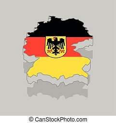 Isolated 3d map with the flag of Germany