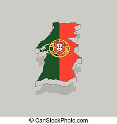 Isolated 3d map with the flag of Portugal