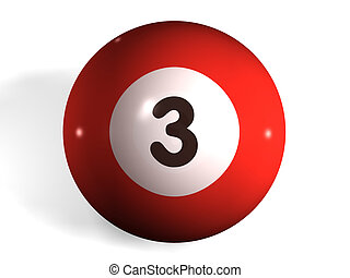 isolated 3d pool ball number 3