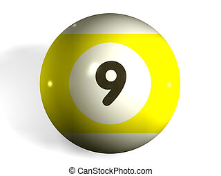 isolated 3d pool ball number 9