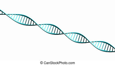 Isolated 3d render model of twisted DNA chain.