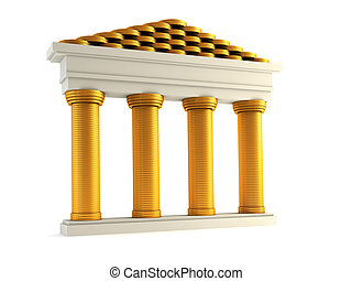 isolated 3d rendering of the symbolic bank
