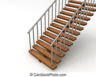 isolated 3D stairs against white background