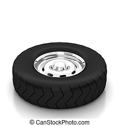 Isolated 3d tyre on white background