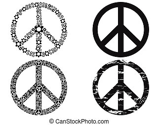 black peace symbol - isolated 4 black peace symbol on white...
