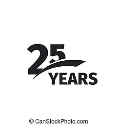 Isolated abstract black 25th anniversary logo on white...