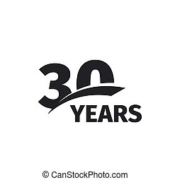 Isolated abstract black 30th anniversary logo on white...