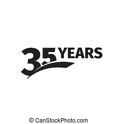 Isolated abstract black 35th anniversary logo on white...