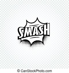 Isolated abstract black and white color comics speech balloon icon on checkered background, dialogue box with popular expressions, pop art dialog frame vector illustration