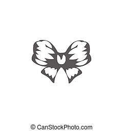 Isolated abstract black and white color bow logo, decorative...