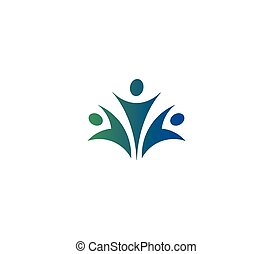 Isolated abstract blue and green color group of three people logo on white background vector illustration.