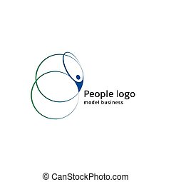 Isolated abstract blue and green color human body silhouette with circular elements logo on white background vector illustration.