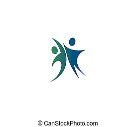 Isolated abstract blue and green color two people holding hands logo on white background vector illustration.