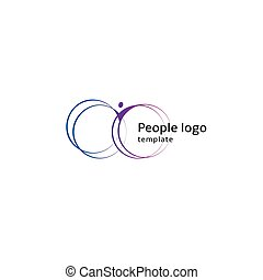 Isolated abstract blue and purple color human body silhouette with circular elements logo on white background vector illustration.