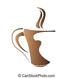 isolated abstract brown color paper coffee cup logo morning drink