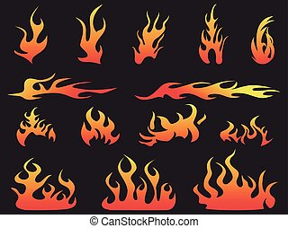 abstract color fire patterns on black background