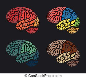 Isolated abstract colorful brain logo collection. Human cerebral hemispheres on black background logotype set.