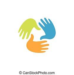 Isolated abstract colorful children hands together logo. Kids playroom logotype. Kindergarten sign. Handprints in paint symbol. Art school emblem. Vector illustration.