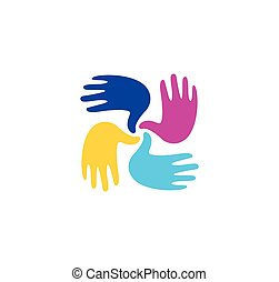 Isolated abstract colorful children hands together logo. Kids playroom logotype. Kindergarten sign. Handprints in paint symbol. Art school emblem. Vector illustration.