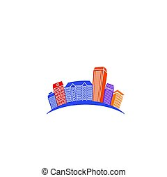 Isolated abstract colorful city skyscraper logo, urban real estate, architecture element logotype on white background vector illustration