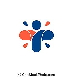 Isolated abstract colorful cross logo. Human silhouette logotype. Medical icon. Religious sign. Healthcare symbol. Hospital,clinic, doctor emblem. Vector illustration.
