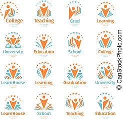 Isolated abstract colorful education and learn logo set, university and school books, graduate hats and human silhouettes logotypes collection on white background vector illustration. Teaching symbols