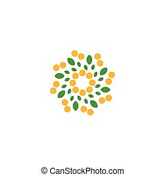Isolated abstract colorful flower on the white background logo. Dotted floral petals logotype. Natural element sign. Spiral spring symbol. Vector illustration.