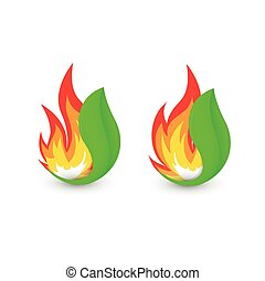 Isolated abstract fire logo. Flame in leaf logotype....