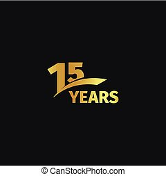 Isolated abstract golden 15th anniversary logo on black...