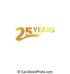 Isolated abstract golden 25th anniversary logo on white...