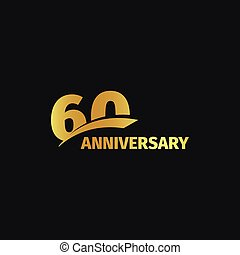 Isolated abstract golden 60th anniversary logo on black...