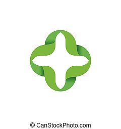 Isolated abstract green color cross vector logo. Outlined plus sign. Medical icon. Arithmetic logotype. illustration.