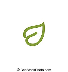 Isolated abstract green color leaf contour logo. Healthcare logotype. Natural cosmetics icon. Eco system sign. Spring element. Vector illustration.