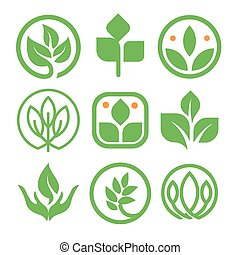 Isolated abstract green color logo collection. Round shape nature element logotype set. Leaf in human hand icon. Agricultural organic products signs. Healing herbs vector illustration.