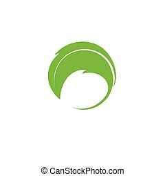 Isolated abstract green color vector logotype. Round shape logo. Minimalistic leaf icon. Natural element.