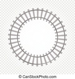 Isolated abstract grey color round shape railway road on checkered background, fencing vector illustration