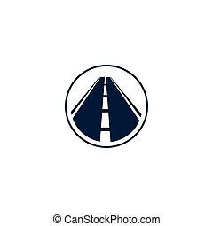 Isolated abstract highway element in circle logo, round shape logotype with road on white background vector illustration