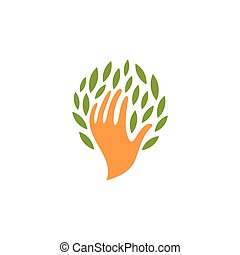 Isolated abstract human hand with leaves logo. People and nature logotype. Save plants icon. Eco products sign. Organic cosmetics symbol. Vector hand with leaves illustration.