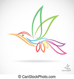Isolated abstract humming bird in white background