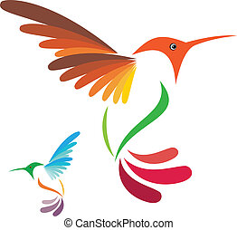 humming bird - Isolated abstract humming bird on white...