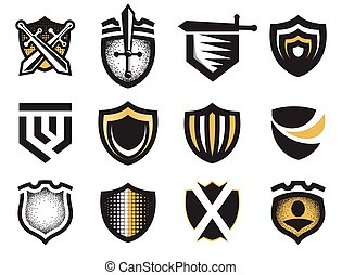 Isolated abstract medieval shields logos set, coat of arms...