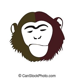 Isolated abstract monkey face